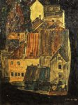 egon schiele city on the blue river i painting