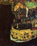 egon schiele city on the blue river ii painting
