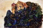 egon schiele watercolor paintings - deuring castle bregenz by egon schiele