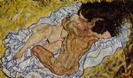 egon schiele watercolor paintings - embrace by egon schiele