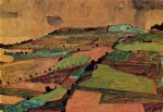 field landscape by egon schiele art