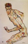 egon schiele watercolor paintings - fighter by egon schiele