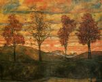 egon schiele four trees painting-78996