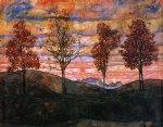 egon schiele four trees painting-34524