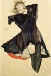 egon schiele girl in blue dress painting