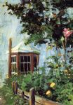 egon schiele house with a bay window in the garden painting