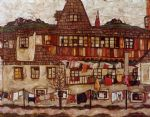egon schiele house with drying laundry painting