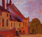 egon schiele watercolor paintings - houses on the town square in klosterneuberg by egon schiele