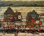 egon schiele houses with laundry suburg ii painting