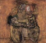 children watercolor paintings - mother with two children by egon schiele