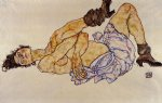 nude original paintings - reclining female nude ii by egon schiele