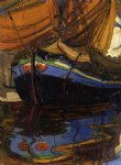 egon schiele sailing boat with reflection in the water painting