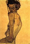 egon schiele self portrait with arm twisting above head painting-34652