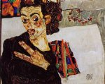 egon schiele self portrait with black vase and spread fingers painting-34653