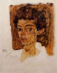 egon schiele self portrait with brown background painting-34654