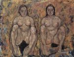 egon schiele squatting women s pair painting 82709