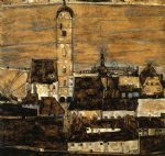 egon schiele acrylic paintings - stein on the danube seen from the kreuzberg large version by egon schiele