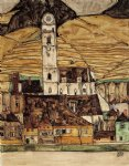 egon schiele stein on the danube small version painting