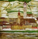 egon schiele acrylic paintings - stein on the danube with terraced vineyards by egon schiele