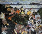 egon schiele acrylic paintings - summer landscape krumau by egon schiele