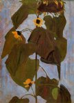 sunflower original paintings - sunflower i by egon schiele