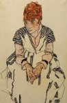 egon schiele acrylic paintings - the artist s sister by egon schiele