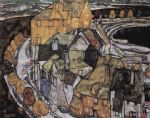 egon schiele the house bend or island city literally the house elbow painting