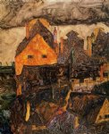 egon schiele acrylic paintings - the old city i by egon schiele