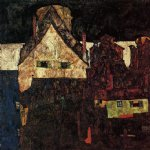egon schiele acrylic paintings - the small city i by egon schiele
