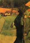 egon schiele watercolor paintings - town on the blue river by egon schiele