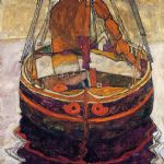 egon schiele trieste fishing boat painting