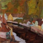 village by the river by egon schiele painting