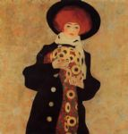 woman with black hat by egon schiele painting