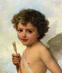 emile munier watercolor paintings - cupid by emile munier