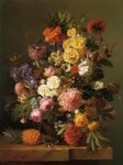 still life with flowers and a pineapple by eugene adolphe chevalier prints