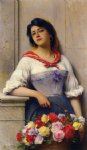 eugene de blaas acrylic paintings - the flower girl by eugene de blaas