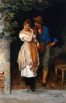 eugene de blaas watercolor paintings - the suitor by eugene de blaas