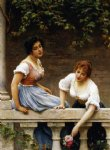 eugene de blaas watercolor paintings - the unseen suitor by eugene de blaas