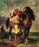 sad acrylic paintings - a moroccan saddling a horse by eugene delacroix