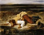 a mortally wounded brigand quenches his thirst by eugene delacroix painting