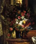 a vase of flowers on a console by eugene delacroix painting