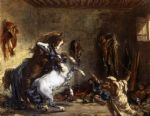 eugene delacroix arab horses fighting in a stable painting 76961