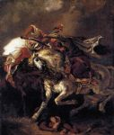 combat of the giaour and the pasha by eugene delacroix painting