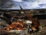 still life famous paintings - still life with lobster by eugene delacroix