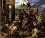sad acrylic paintings - the entry of the crusaders into constantinople by eugene delacroix
