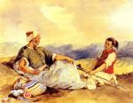 two moroccans seated in the countryside by eugene delacroix painting