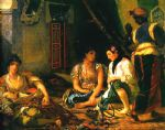 women of algiers in their apartment by eugene delacroix painting