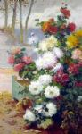 eugene henri cauchois original paintings - chrysanthemums by eugene henri cauchois