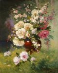 eugene henri cauchois famous paintings - peonies and cerisiers by eugene henri cauchois