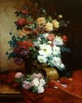 eugene henri cauchois famous paintings - roses and dahlias by eugene henri cauchois